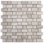 Haisa Light (White Oak) Marble Morse Honed Pattern Mosaic Tile - TILE AND MOSAIC DEPOT