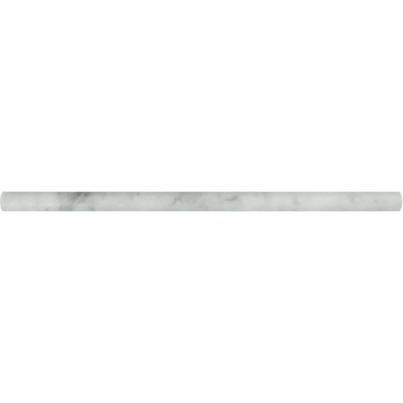 White Carrara Marble 1/2x12 Honed Pencil Liner - TILE AND MOSAIC DEPOT