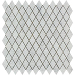 White Carrara Marble Honed 1x2 Diamond Mosaic Tile - TILE AND MOSAIC DEPOT