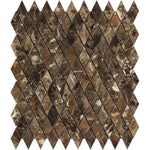 Emperador Dark Marble Polished 1x2 Diamond Mosaic Tile - TILE AND MOSAIC DEPOT
