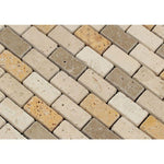 Mixed Travertine 1x2 Tumbled Mosaic Tile - TILE AND MOSAIC DEPOT