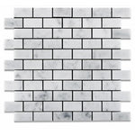 White Carrara Marble 1x2 Honed Mosaic Tile - TILE AND MOSAIC DEPOT