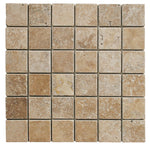 Noce Travertine 2x2 Tumbled Mosaic Tile - TILE AND MOSAIC DEPOT