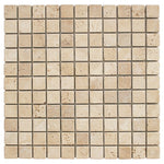 Ivory Travertine 1x1 Tumbled Mosaic Tile - TILE AND MOSAIC DEPOT