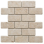 Ivory Travertine 2x4 Tumbled Mosaic Tile - TILE AND MOSAIC DEPOT