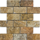 Scabos Travertine 2x4 Tumbled Mosaic Tile - TILE AND MOSAIC DEPOT