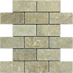Seagrass Limestone 2x4 Tumbled Mosaic Tile - TILE AND MOSAIC DEPOT