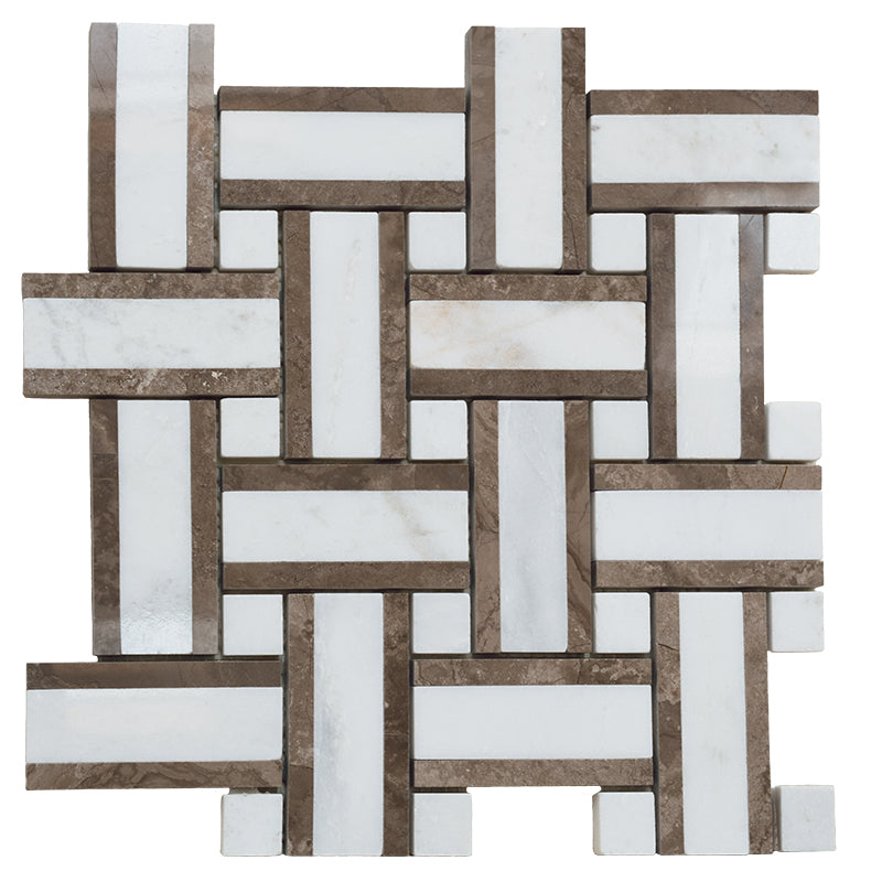 Calacatta Amber Marble Basketwieve Honed Mosaic Tile - TILE AND MOSAIC DEPOT