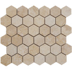 Ivory Travertine 2x2 Hexagon Honed Mosaic Tile - TILE AND MOSAIC DEPOT