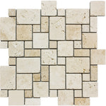 Ivory Travertine Micro Mini Pattern Tumbled Mosaic Tile - TILE AND MOSAIC DEPOT