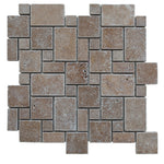 Noce Travertine Micro Mini Pattern Tumbled Mosaic Tile - TILE AND MOSAIC DEPOT
