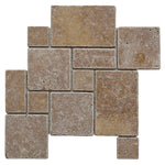 Noce Travertine Opus Mini Pattern Tumbled Mosaic Tile - TILE AND MOSAIC DEPOT