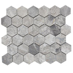 Atlantic Gray Marble 2x2 Polished Hexagon Mosaic Tile - TILE AND MOSAIC DEPOT