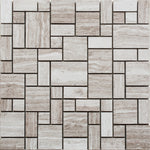 Haisa Light (White Oak) Marble Micro Mini Pattern Honed Mosaic Tile - TILE AND MOSAIC DEPOT