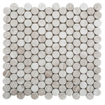 Haisa Light (White Oak) Marble Penny Round Honed Mosaic Tile - TILE AND MOSAIC DEPOT