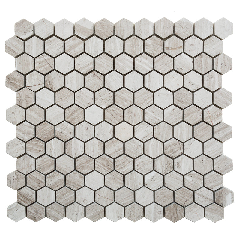 Haisa Light (White Oak) Marble 1x1 Hexagon Honed Mosaic Tile - TILE AND MOSAIC DEPOT