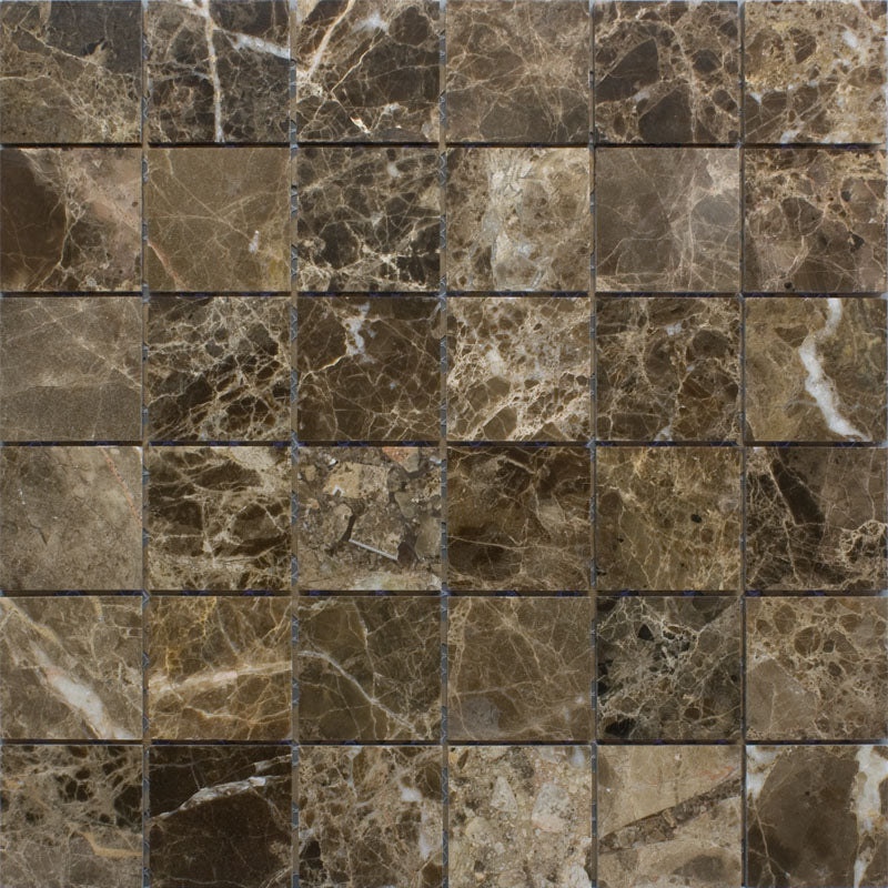 Emperador Dark Spanish Marble 2x2 Polished Mosaic Tile - TILE AND MOSAIC DEPOT