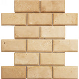 Ivory Travertine 2x4 Deep Beveled Mosaic Tile - TILE AND MOSAIC DEPOT