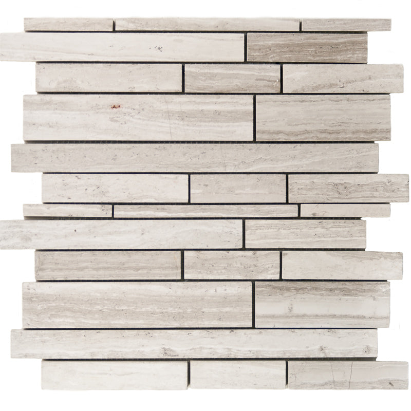 Haisa Light (White Oak) Marble Random Insert Strips Mosaic Tile - TILE AND MOSAIC DEPOT