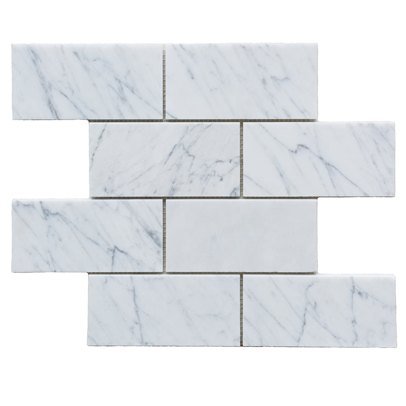 White Carrara Marble 3x6 Polished Tile - TILE AND MOSAIC DEPOT