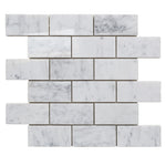 White Carrara Marble 2x4 Polished Mosaic Tile - TILE AND MOSAIC DEPOT