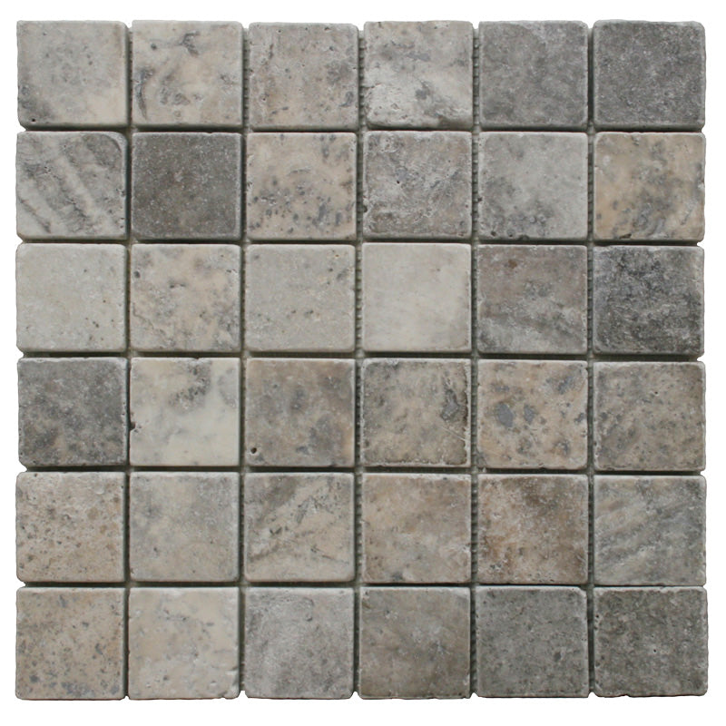 Silver Travertine 2x2 Tumbled Mosaic Tile - TILE AND MOSAIC DEPOT