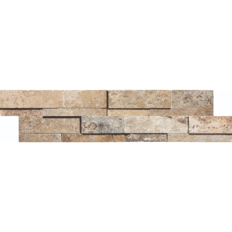 Scabos Travertine 6x24 3D Honed Stacked Stone Ledger Panel - TILE AND MOSAIC DEPOT
