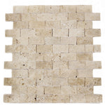 Ivory Travertine 1x2 Split Face Mosaic Tile - TILE AND MOSAIC DEPOT