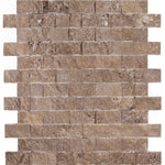 Noce Travertine 1x2 Split Face Mosaic Tile - TILE AND MOSAIC DEPOT