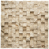 Ivory Travertine 3D 1X1 Split Face Mosaic Tile - TILE AND MOSAIC DEPOT