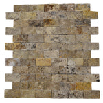 Scabos Travertine 1x2 Split Face Mosaic Tile - TILE AND MOSAIC DEPOT