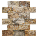 Scabos Travertine 2x4 Split Face Mosaic Tile - TILE AND MOSAIC DEPOT