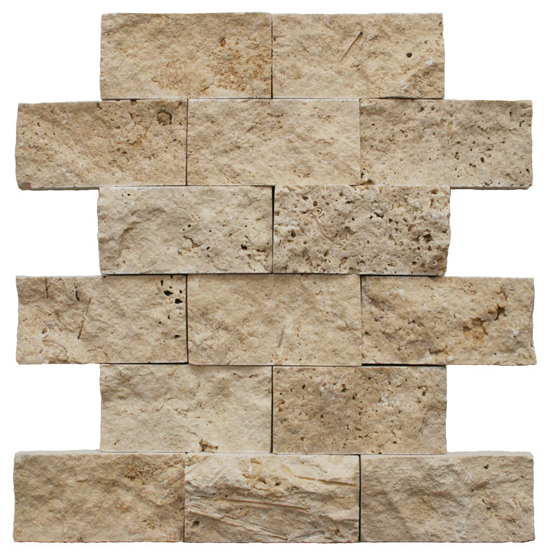 Ivory Travertine 2x4 Split Face Mosaic Tile - TILE AND MOSAIC DEPOT