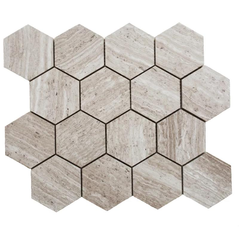 Haisa Light (White Oak) Marble 3x3 Hexagon Honed Mosaic Tile - TILE AND MOSAIC DEPOT