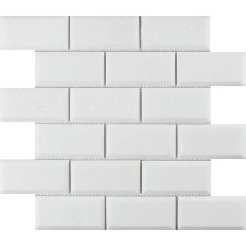 Thassos White Marble Deep-Beveled 2x4 Honed Mosaic Tile - TILE AND MOSAIC DEPOT