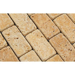 Gold Travertine 2x4 Tumbled Mosaic Tile
