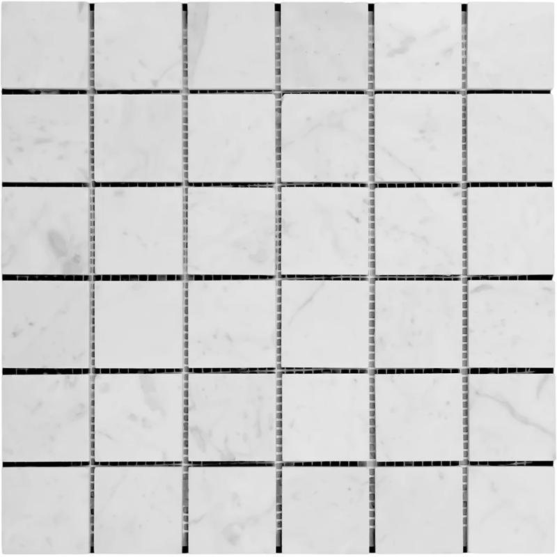White Carrara Marble 2x2 Polished Mosaic Tile - TILE AND MOSAIC DEPOT