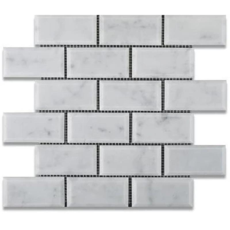 White Carrara Marble 2x4 Deep Beveled Polished Mosaic Tile - TILE AND MOSAIC DEPOT
