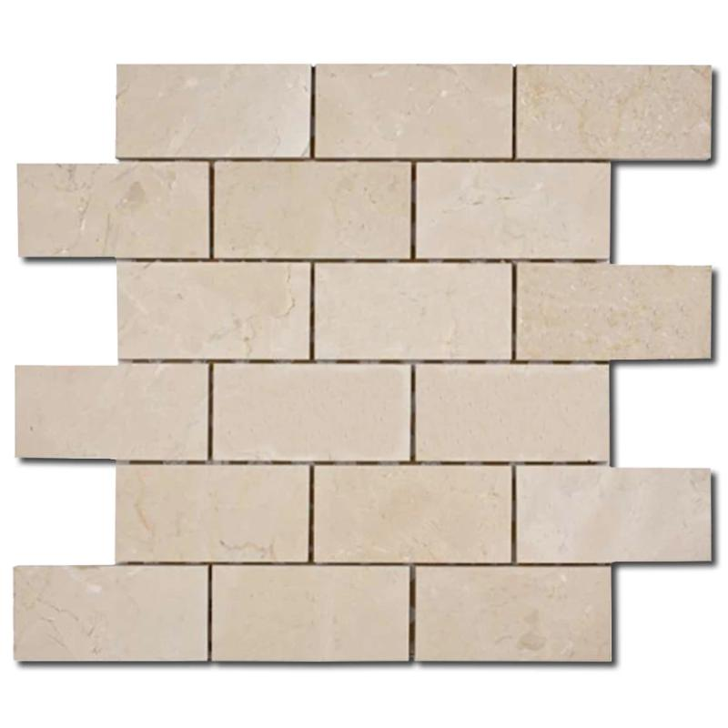 Crema Marfil Marble 2x4 Polished Mosaic Tile - TILE AND MOSAIC DEPOT