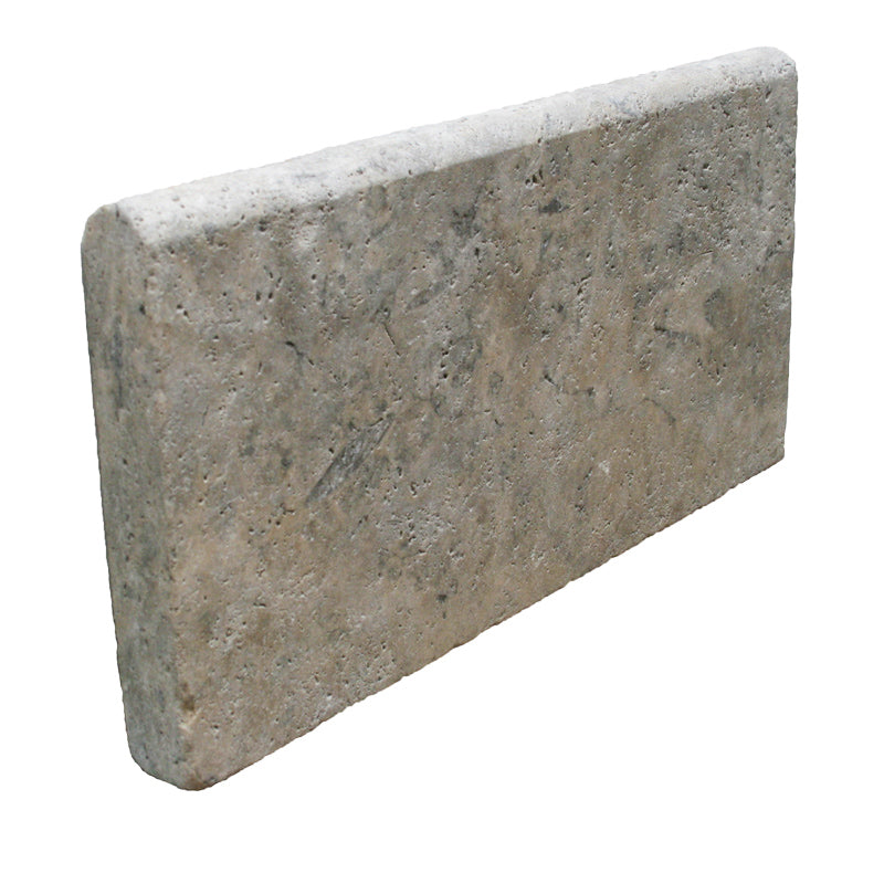 Silver Travertine 12x24 5cm Tumbled Pool Coping - TILE AND MOSAIC DEPOT