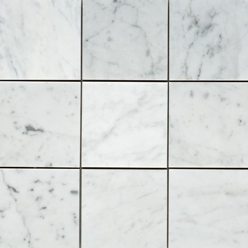White Carrara Marble 4x4 Honed Tile - TILE AND MOSAIC DEPOT