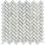 White Carrara Marble 5/8x1 1/4 Herringbone Honed Mosaic Tile - TILE AND MOSAIC DEPOT