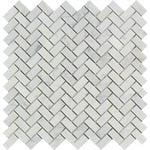 White Carrara Marble 5/8x1 1/4 Herringbone Polished Mosaic Tile - TILE AND MOSAIC DEPOT
