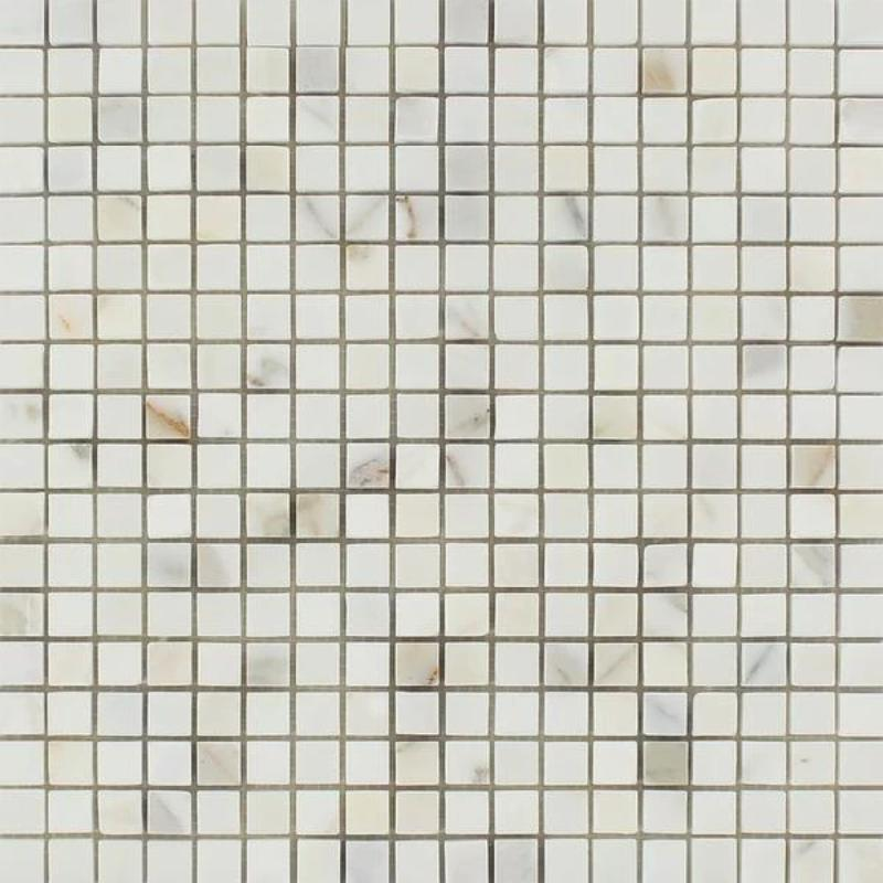 Calacatta Gold Marble 5/8x5/8 Honed Mosaic Tile - TILE AND MOSAIC DEPOT