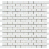Thassos White Marble 5/8 x 1 1/4 Honed Mini Brick Mosaic Tile - TILE AND MOSAIC DEPOT