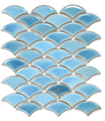 Dragon Scale Sky 9.75 x 12 Light Blue Porcelain Mosaic Tile
