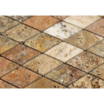 Scabos Travertine 2x4 Diamond Tumbled Mosaic Tile - TILE AND MOSAIC DEPOT