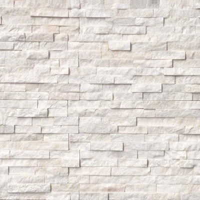 Arctic White 6x24 Stacked Stone Ledger Panel - TILE & MOSAIC DEPOT