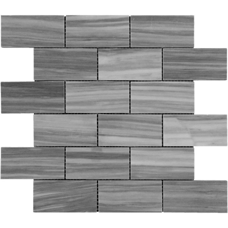Bardiglio Scuro Marble 2x4 Polished Mosaic Tile - TILE AND MOSAIC DEPOT