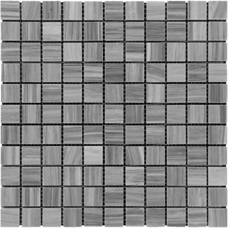 Bardiglio Scuro Marble 1x1 Polished Mosaic Tile - TILE AND MOSAIC DEPOT